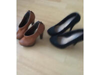 New look tan shoe boots and Primark Black High Heels both Size 3