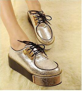 Women-s-Retro-Lace-Up-Glitter-Shoes-Platform-Heels-Flat-Pumps-Metallic-Round-Toe