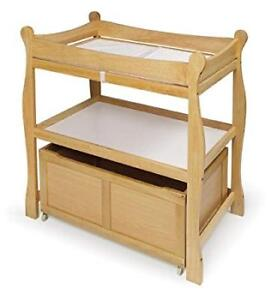 Natural Sleigh style baby changing table (bin not included)