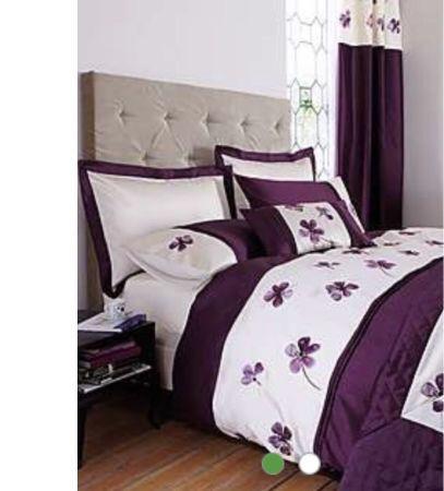 dunelm louisa plum double duvet set x2 bedspread. Black Bedroom Furniture Sets. Home Design Ideas