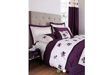 Dunelm Louisa Plum Double Duvet Set x2, Bedspread & Scatter Cushions