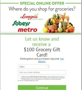 Get a $100 Grocery Gift Card Now!