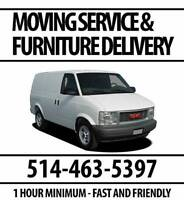 Moving & Furniture Delivery $30 Per Hour / 1-Hour Minimum