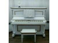 White upright piano + stool