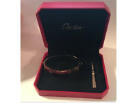 Cartier 18k love screw bracelets boxed gold silver and rose gold