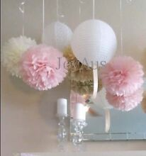 Paper Lanterns and Pom Poms for Wedding Party Baby Shower Decor Midland Swan Area Preview