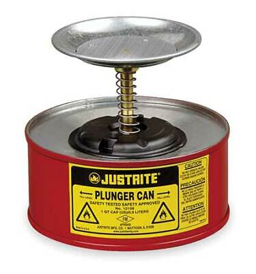 Justrite 10108 Plunger Can1 Qt.galvanized Steelred