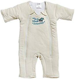 Baby merlin's magic sleepsuit swaddle white large 6 - 9 months pyjamas