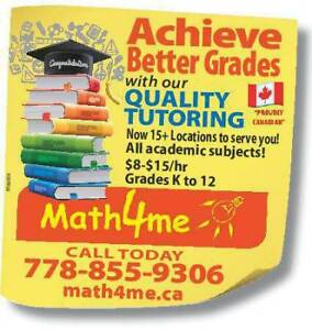 **Tutoring $8 to $15 Hourly @ Math4me**