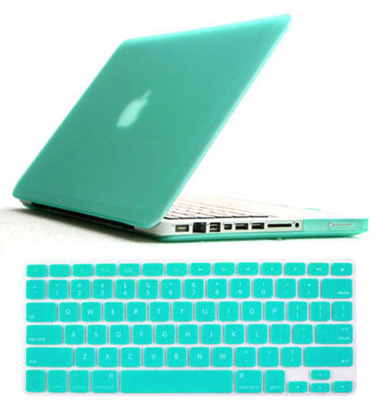 Tiffany Blue Rubberised Case Keyboard Cover Screen Protector