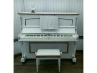 White overstrung upright piano + stool