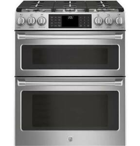 "30"" GE Cafe Double Oven Stainless Steel Range $2199"
