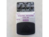 Guitar effects pedal. Digital Reverb/Delay by Behringer
