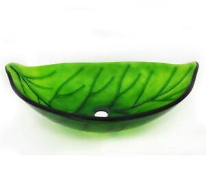 "Tempered Glass Green Leaf Vessel - 22"" x 14.5"" x 5.5"""