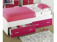 Girls white single bed with pink high gloss drawers