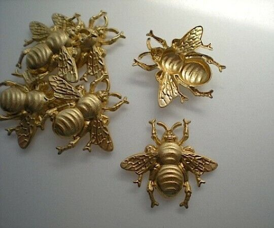 6 large brass bumblebee stampings