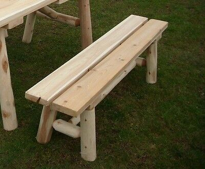White Cedar Log Picnic Bench ONLY! 5 Foot Picnic BENCH ONLY!  Amish Made USA