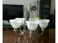 5 light Chrome Chandeliers for Sale, set of two