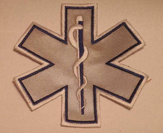 EMS EMT Emergency Medical Star of Life Blue Reflective Patch 7""