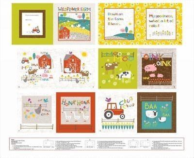 Studio e Fabrics ~ Wildflower Farm  Animals ~ 100% Cotton Soft Fabric Book Panel, used for sale  USA