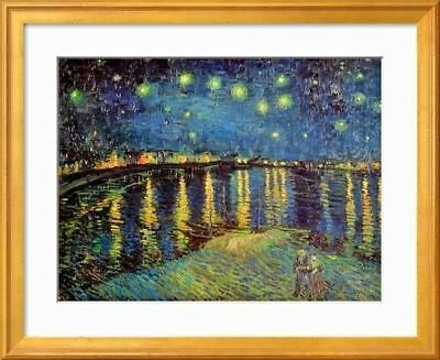 (Starry Night over the Rhone 1888 Vincent van Gogh 20x16'' Gold Framed Art Print)