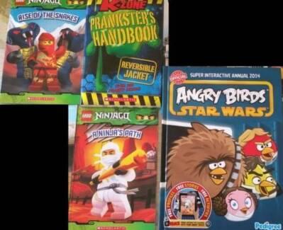 5 books: Ninjago, Angry birds, Wildlife & Prankster's Handbook