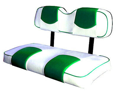 - EZ-GO TXT Golf Cart Deluxe™ Vinyl Seat Covers-Staple On(Wht/Green Top-PPng)
