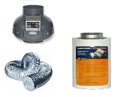 Aktivkohlefilter Lüftungsset  Rohrventilator 220 / 360 m³ AKF Abluftset grow
