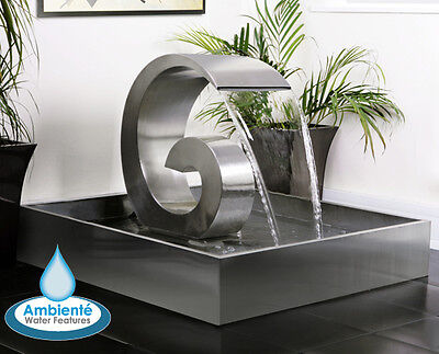 """Stainless Steel Cascading Water Fountain Ammonite with Steel Reservoir - 19"""""""