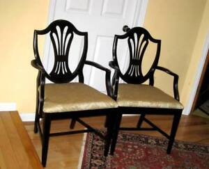 A Set of Refurbished Solid Mahogany Shield Back Dining Chairs