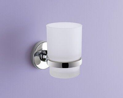 Accessori bagno porta bicchiere porta spazzollini in vetro e metallo cromato