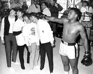 1964 Cassius Clay MUHAMMAD ALI & BEATLES Glossy 8x10 Boxing Photo Training Camp