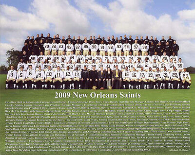 2009 NEW ORLEANS SAINTS SUPER BOWL  WORLD CHAMPIONS TEAM 8X10 COLOR PHOTO  - Super Bowl Team Colors
