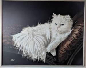 Large, White Persian Cat Painting, 5x4'