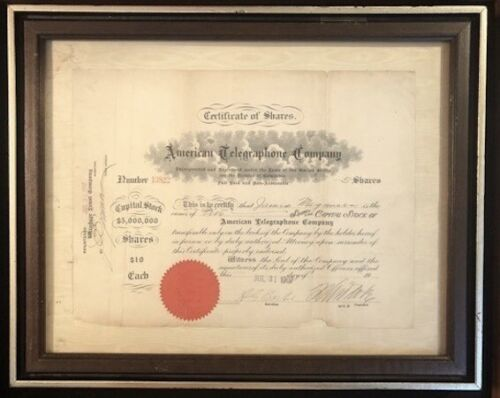 1907 FRAMED ISSUED STOCK CERTIFICATE AMERICAN TELEGRAPHONE CO. WASH. DC