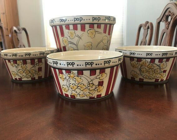 Vintage Ceramic Popcorn Containers Collectable Set of 4 by Kitchen Prep