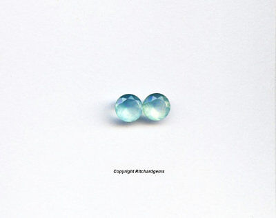 Natural Semi Precious Loose 6 mm Faceted Matched Pair Blue Chalcedony