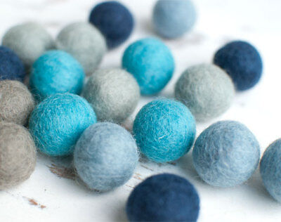 2.5cm Felt Balls x20 BLUE GREY.Wool. Pom poms.Wholesale.Bulk.Stefcollections.