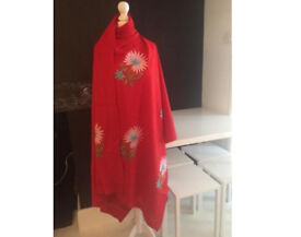 Beautiful embroidered wool shawl / fabric