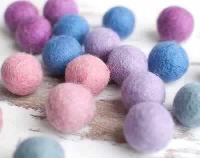 2.5cm Felt Balls x20 PASTEL.Wool. Pom - Felt Balls Bulk