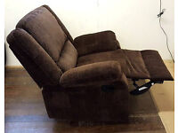 Shelly Fabric Recliner Armchair - Chocolate. Can Deliver