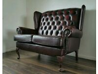 2 seater buttoned back leather sofa