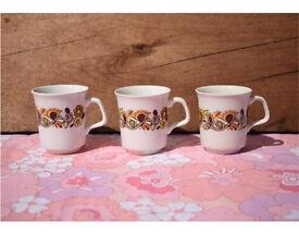 J&G Meakin Studio Bali 3 cups retro vintage
