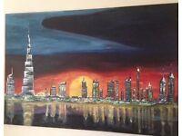 Hand-painted Painting Dubai Skyline