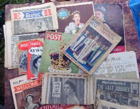 Huge trove of vintage Queen Elizabeth II coronation papers & magazines