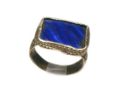 17thC Russian Ukrainian Crimean Tatars Silver Ring Ruby Glass Gemstone Size 9½
