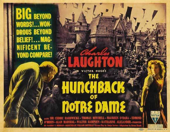 THE HUNCHBACK OF NOTRE DAME Movie POSTER 22x28 Half Sheet B Charles Laughton