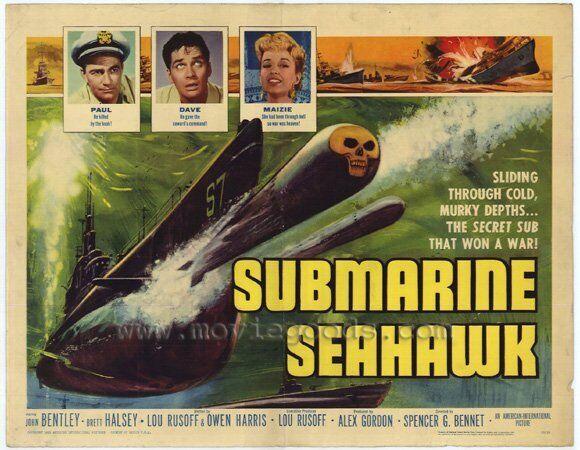 SUBMARINE SEAHAWK Movie POSTER 22x28 Half Sheet John Bentley Brett Halsey Wayne