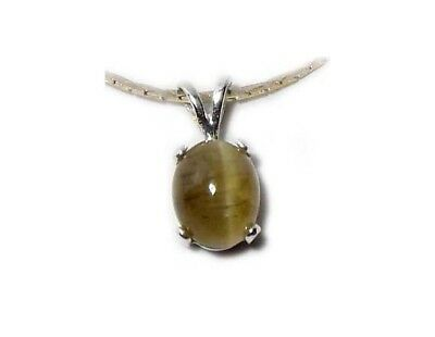 19thC Antique Siberia 3ct Honey Apatite Cats Eye Pendant Victorian Era Jewelry