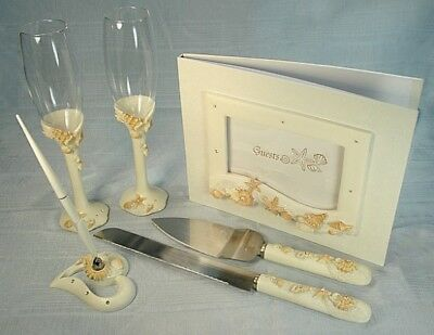 Beach Flutes (Guest book,Toasting flutes,Cake set & Pen set Beach Seashell Theme Wedding  )